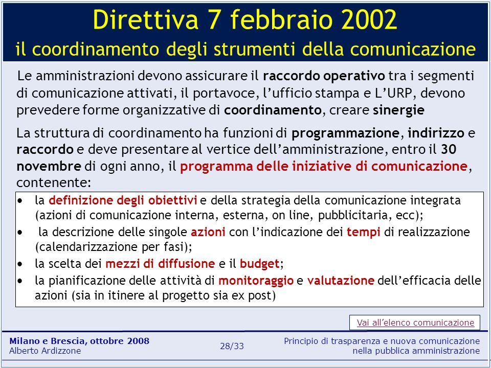 Direttiva 7 febbraio 2002 il coordinamento degli strumenti della comunicazione
