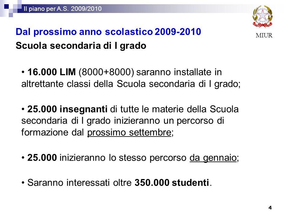 Dal prossimo anno scolastico 2009-2010 Scuola secondaria di I grado