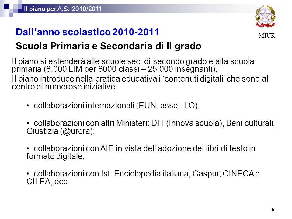 Dall'anno scolastico 2010-2011
