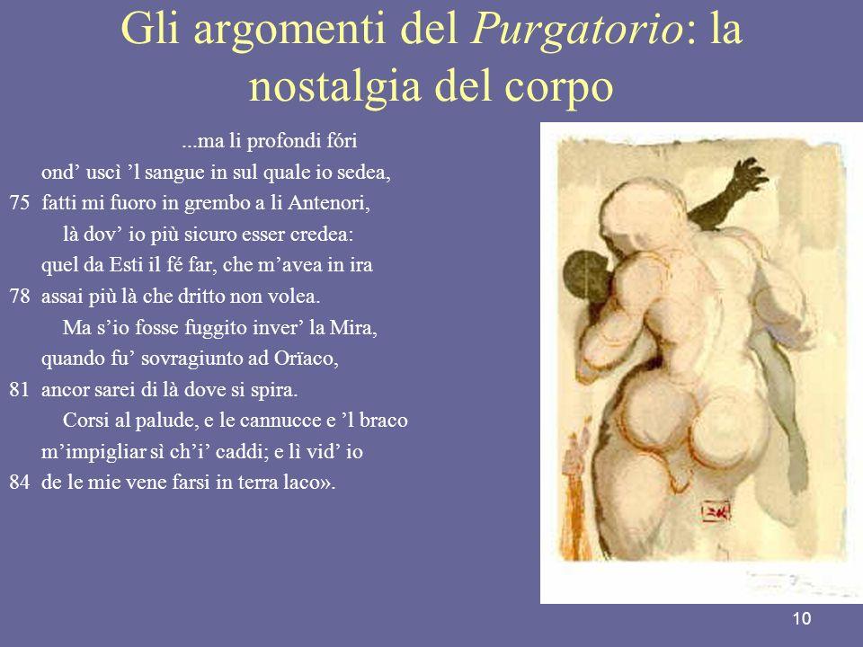 Gli argomenti del Purgatorio: la nostalgia del corpo