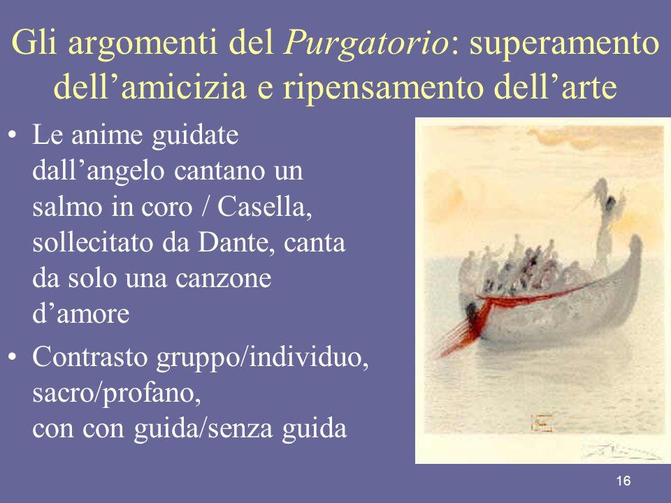 Gli argomenti del Purgatorio: superamento dell'amicizia e ripensamento dell'arte