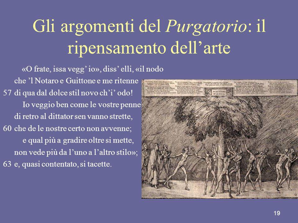 Gli argomenti del Purgatorio: il ripensamento dell'arte