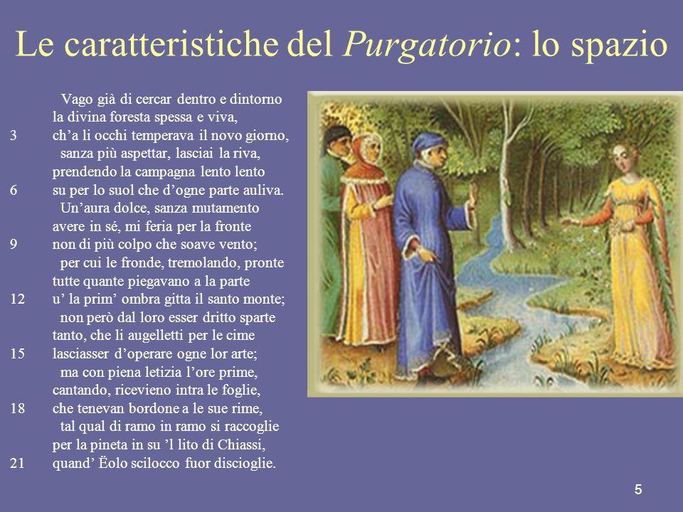 Le caratteristiche del Purgatorio: lo spazio