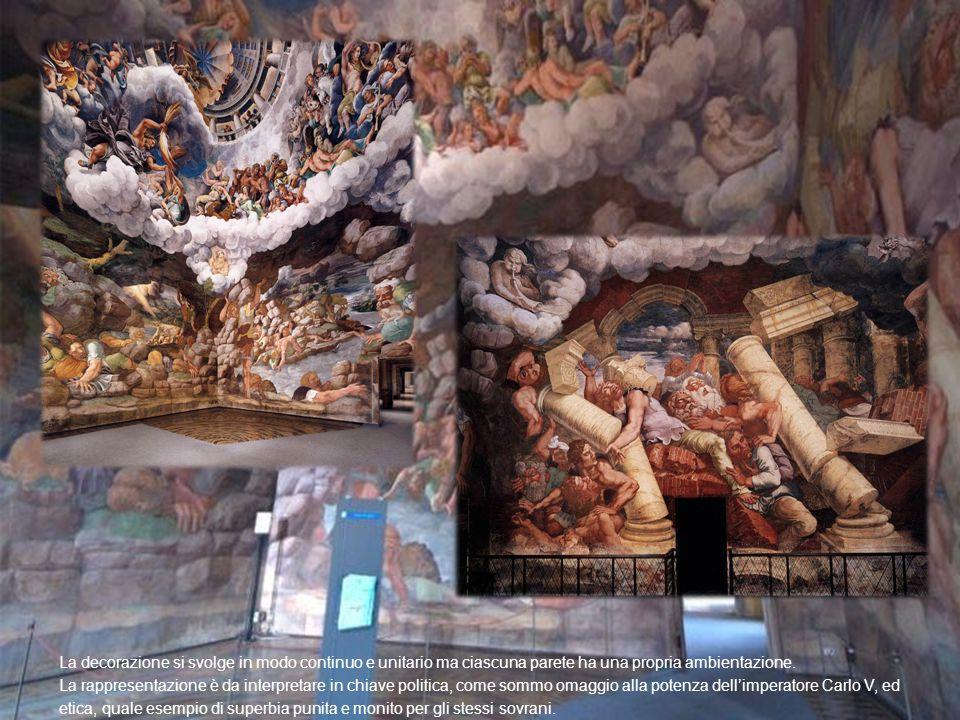 La decorazione si svolge in modo continuo e unitario ma ciascuna parete ha una propria ambientazione.