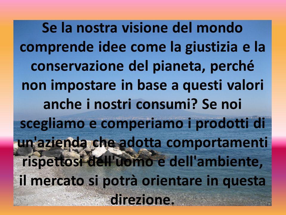 Se la nostra visione del mondo comprende idee come la giustizia e la conservazione del pianeta, perché non impostare in base a questi valori anche i nostri consumi.