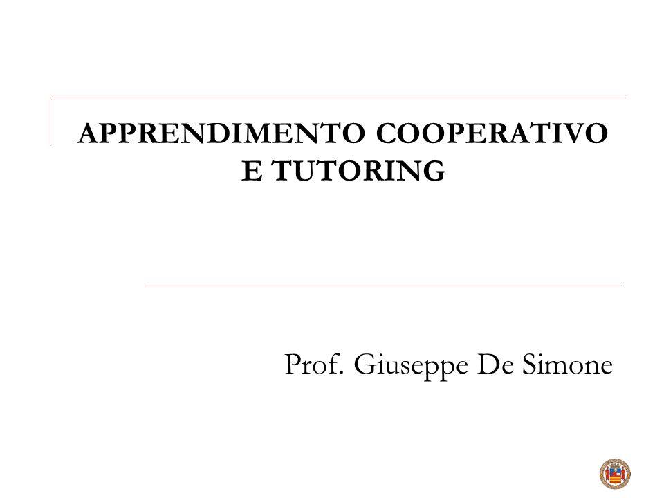 APPRENDIMENTO COOPERATIVO E TUTORING