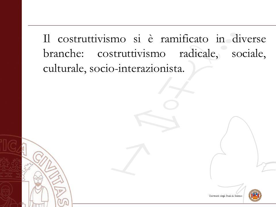 Il costruttivismo si è ramificato in diverse branche: costruttivismo radicale, sociale, culturale, socio-interazionista.