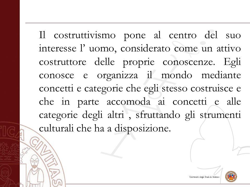 Il costruttivismo pone al centro del suo interesse l' uomo, considerato come un attivo costruttore delle proprie conoscenze.