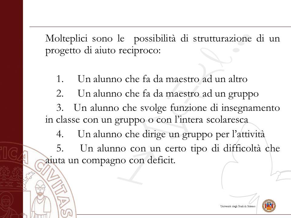 Molteplici sono le possibilità di strutturazione di un progetto di aiuto reciproco: 1.
