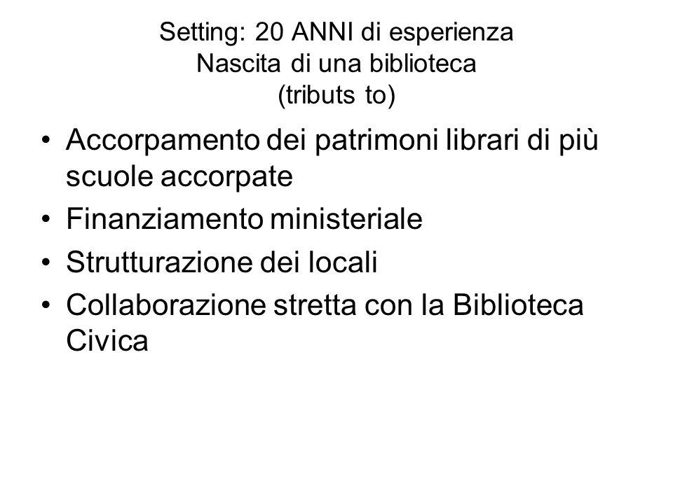 Setting: 20 ANNI di esperienza Nascita di una biblioteca (tributs to)