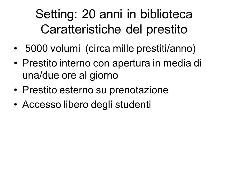 Setting: 20 anni in biblioteca Caratteristiche del prestito