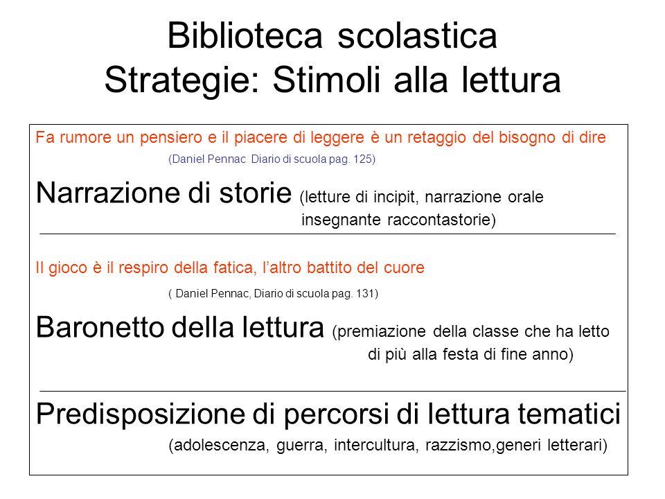 Biblioteca scolastica Strategie: Stimoli alla lettura