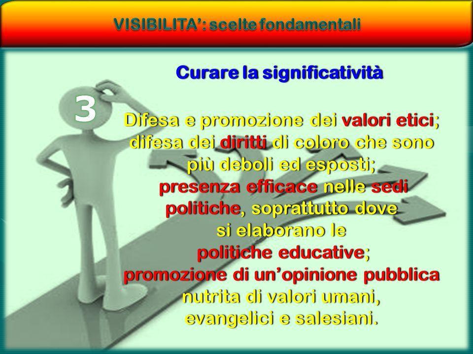 VISIBILITA': scelte fondamentali Curare la significatività