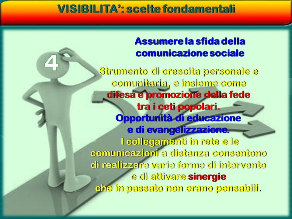 4 VISIBILITA': scelte fondamentali