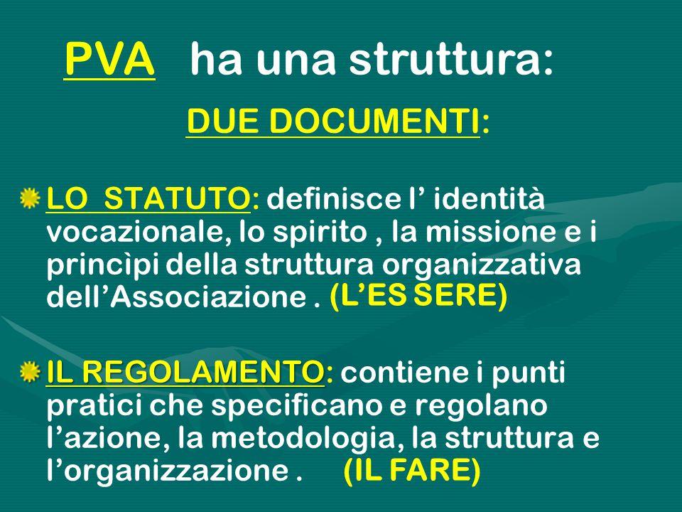 PVA ha una struttura: DUE DOCUMENTI: