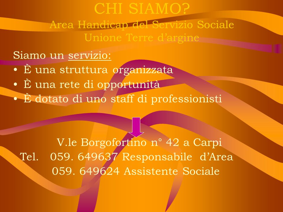 CHI SIAMO Area Handicap del Servizio Sociale Unione Terre d'argine