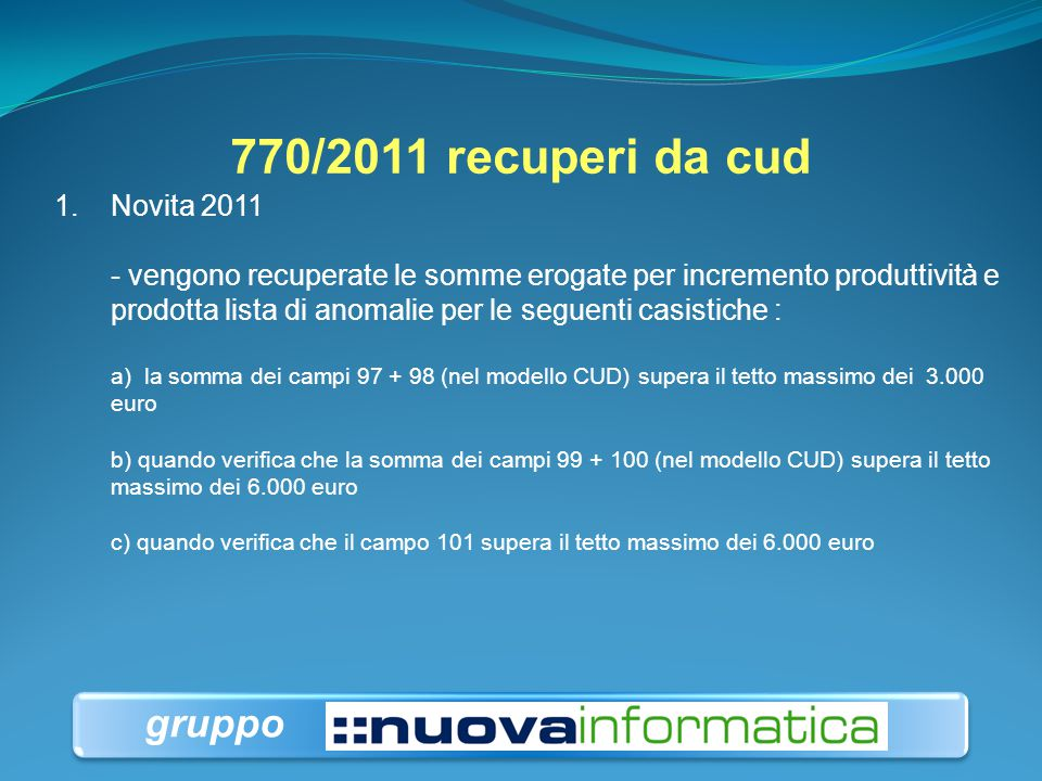 770/2011 recuperi da cud gruppo