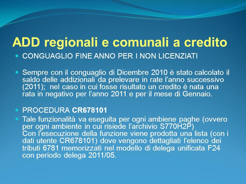 ADD regionali e comunali a credito