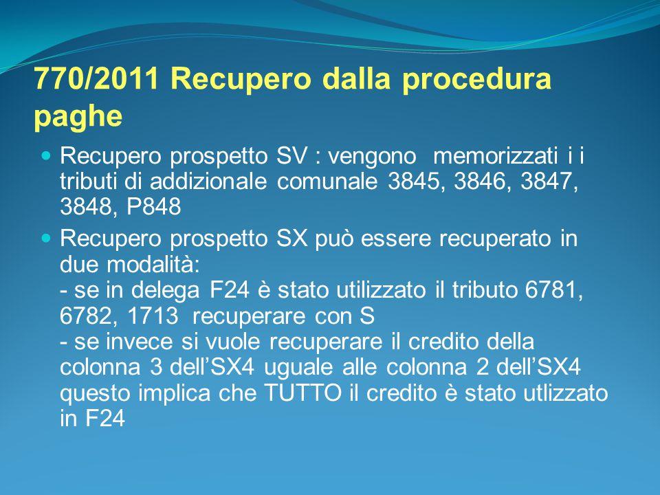 770/2011 Recupero dalla procedura paghe