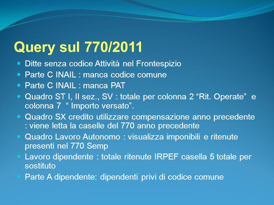 Query sul 770/2011 Ditte senza codice Attività nel Frontespizio