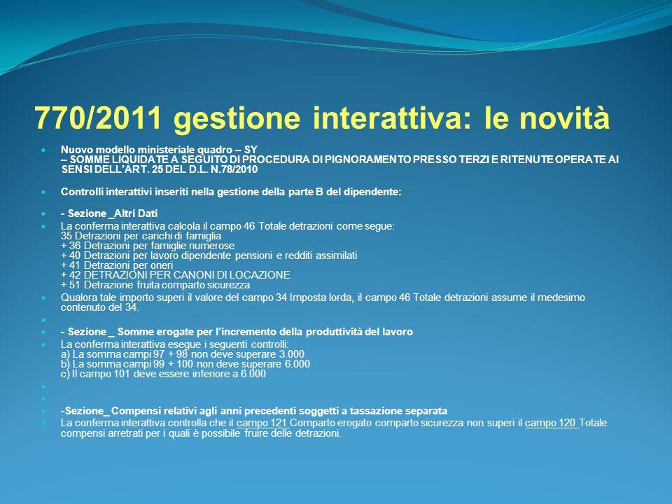 770/2011 gestione interattiva: le novità