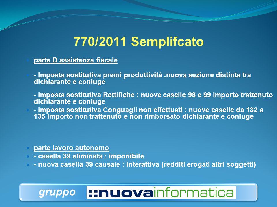 770/2011 Semplifcato gruppo parte D assistenza fiscale