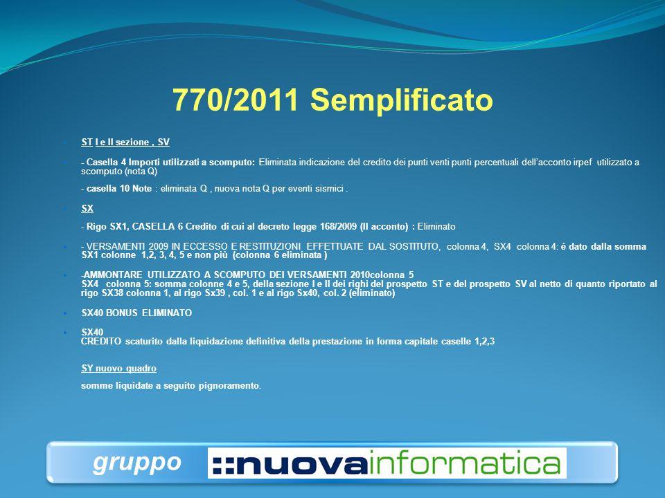 770/2011 Semplificato gruppo ST I e II sezione , SV