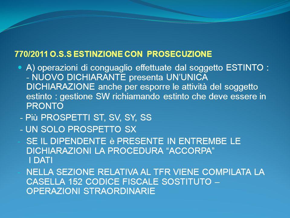 770/2011 O.S.S ESTINZIONE CON PROSECUZIONE
