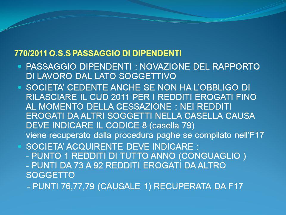 770/2011 O.S.S PASSAGGIO DI DIPENDENTI