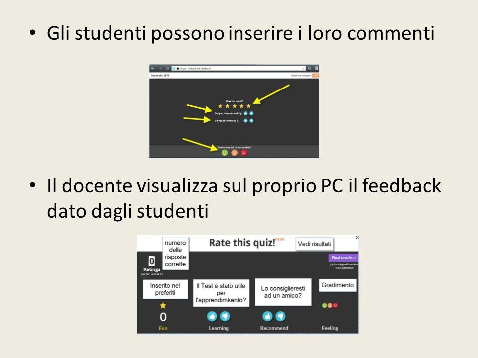 Gli studenti possono inserire i loro commenti