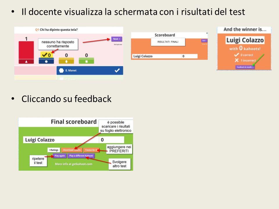 Il docente visualizza la schermata con i risultati del test