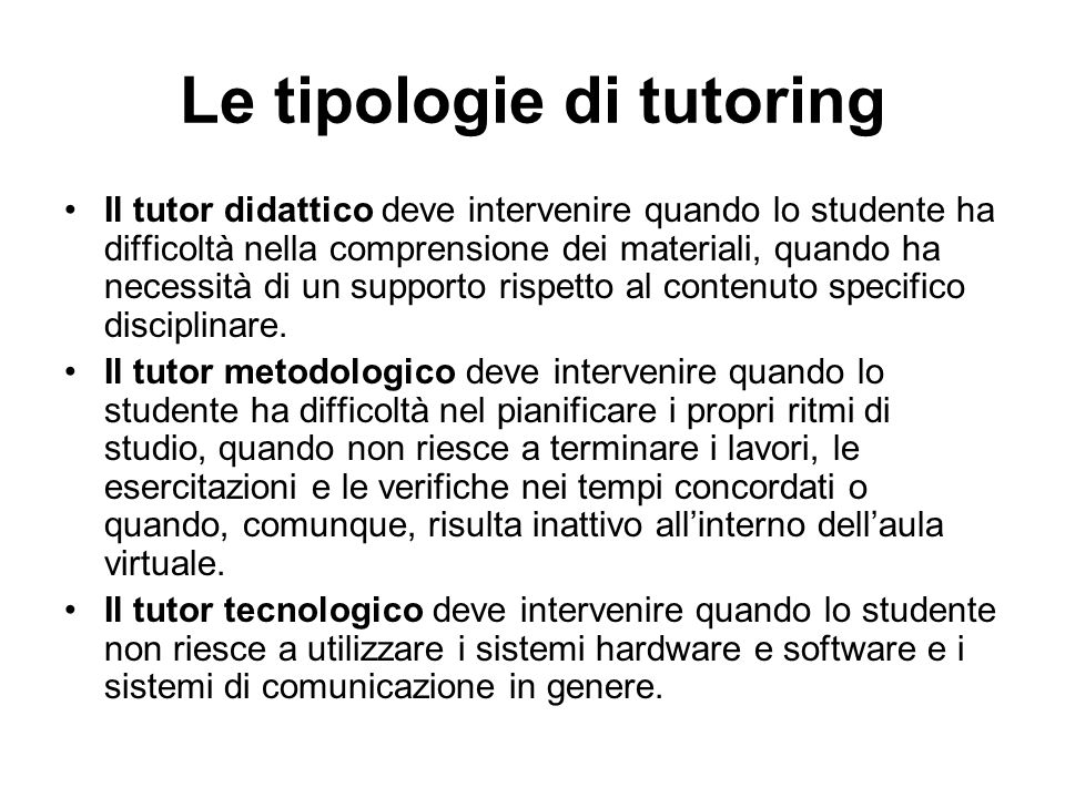 Le tipologie di tutoring