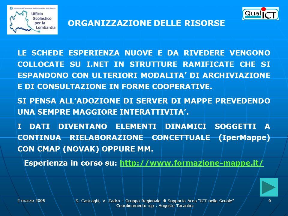 Esperienza in corso su: http://www.formazione-mappe.it/