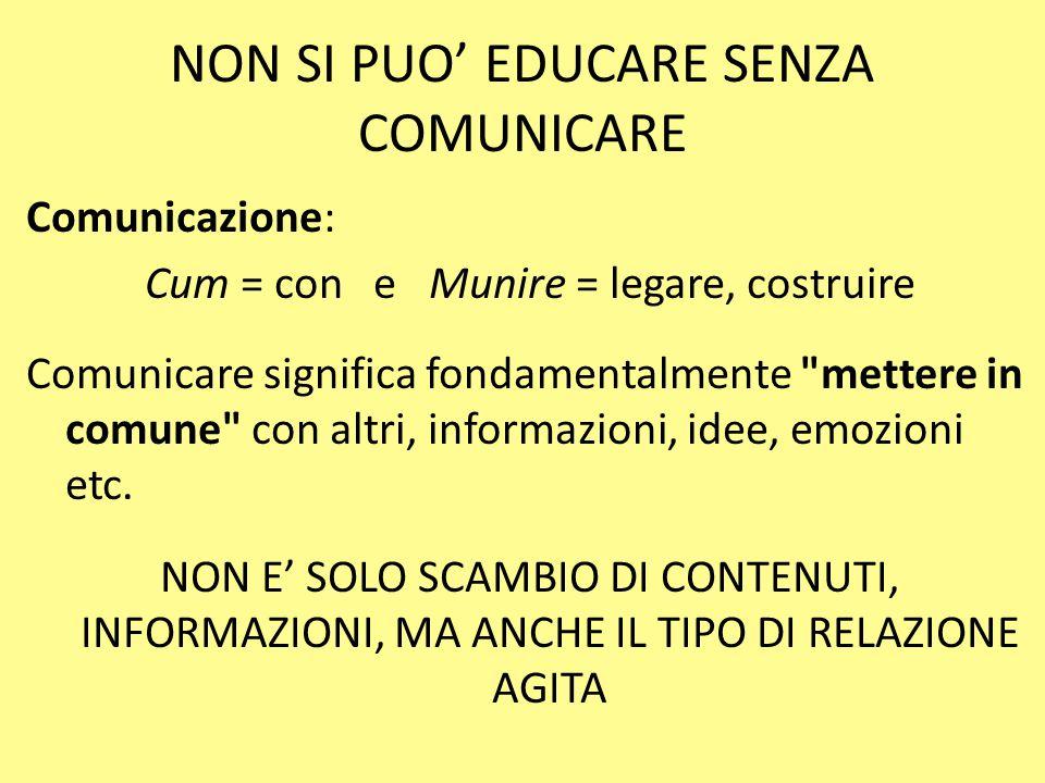 NON SI PUO' EDUCARE SENZA COMUNICARE