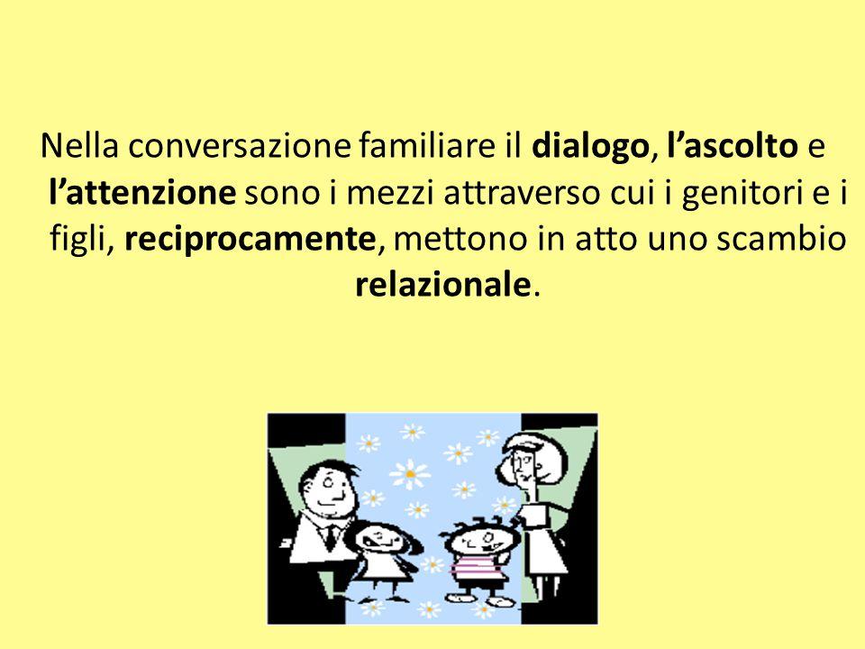 Nella conversazione familiare il dialogo, l'ascolto e l'attenzione sono i mezzi attraverso cui i genitori e i figli, reciprocamente, mettono in atto uno scambio relazionale.