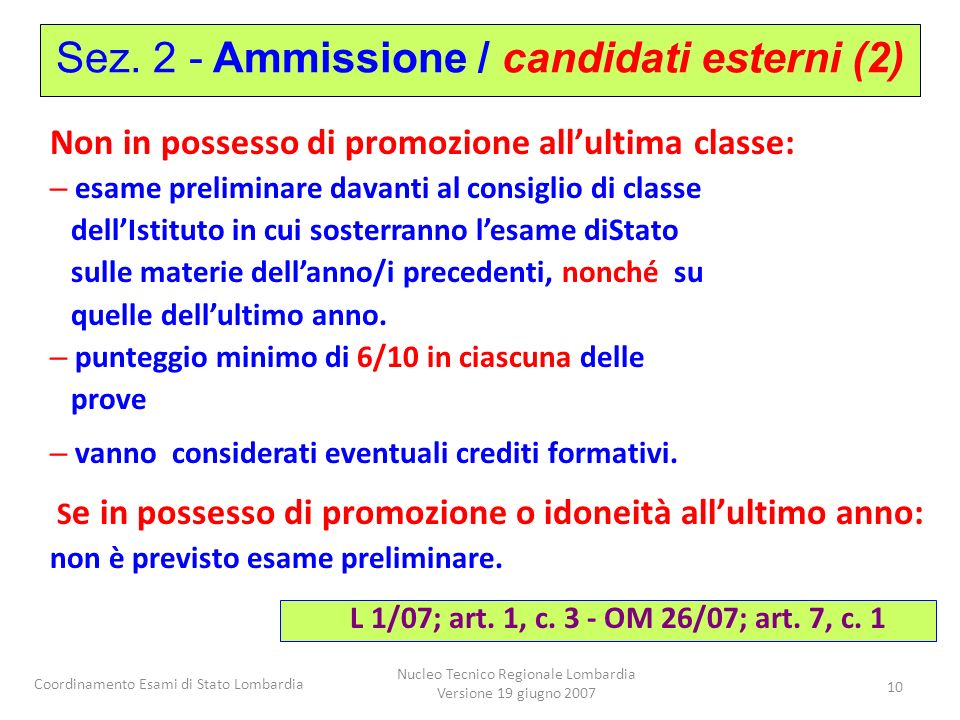 Sez. 2 - Ammissione / candidati esterni (2)