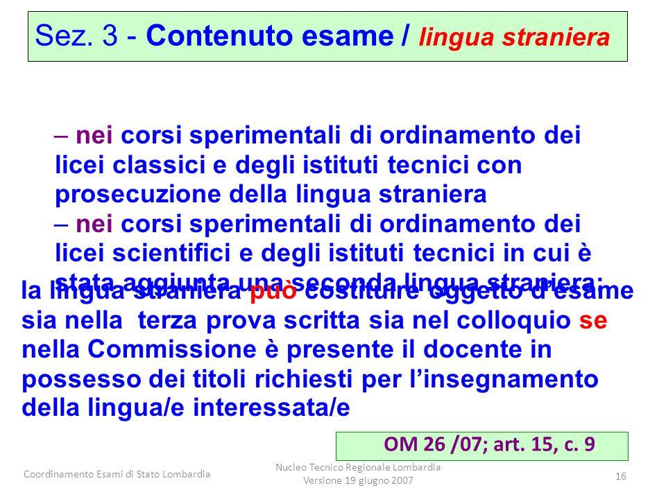 Nucleo Tecnico Regionale Lombardia Versione 19 giugno 2007