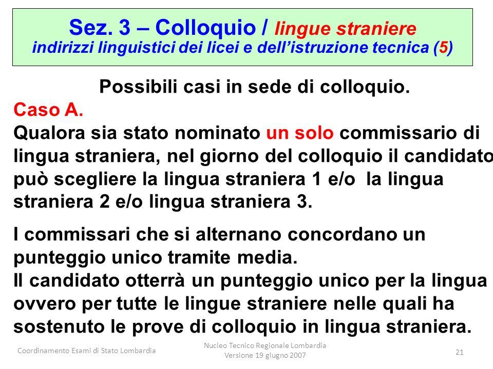 Sez. 3 – Colloquio / lingue straniere