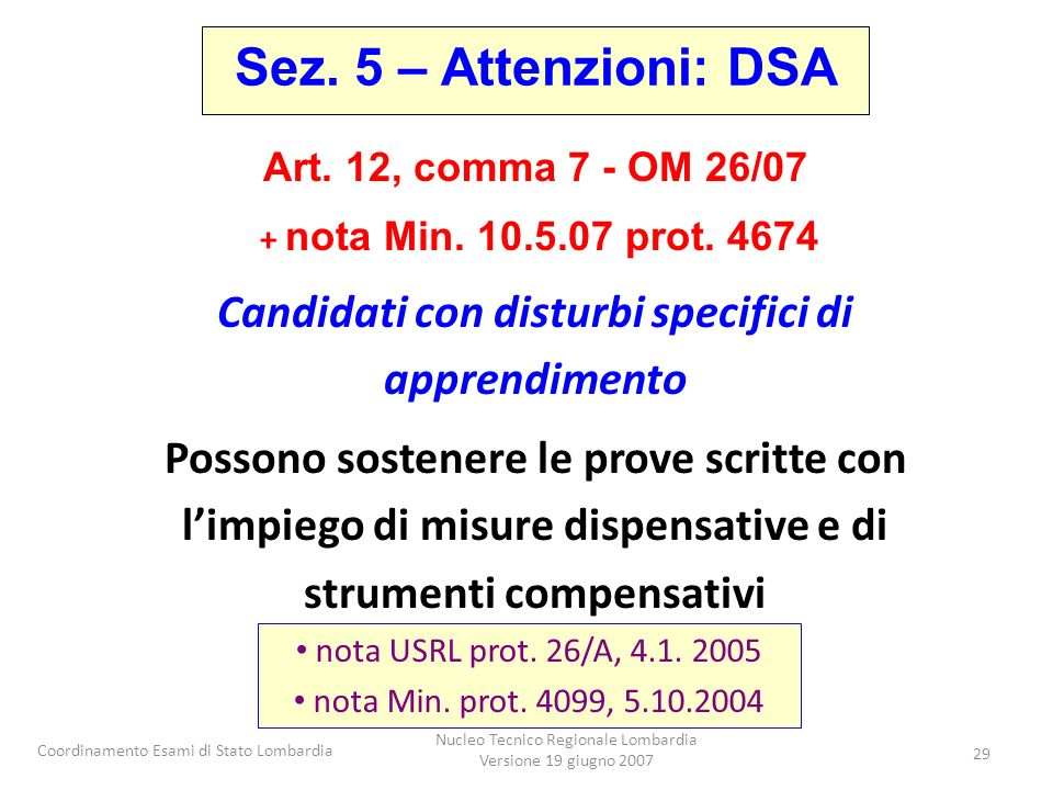 Candidati con disturbi specifici di apprendimento