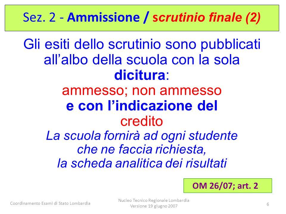 Sez. 2 - Ammissione / scrutinio finale (2)