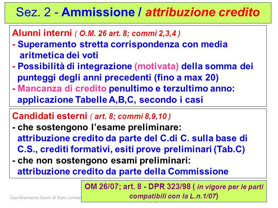Sez. 2 - Ammissione / attribuzione credito