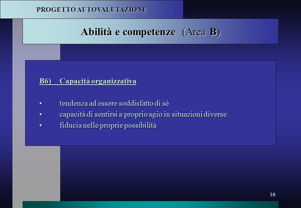 Abilità e competenze (Area B)