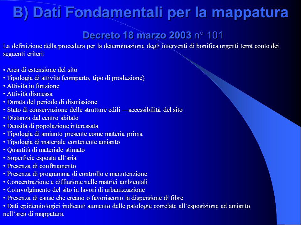 B) Dati Fondamentali per la mappatura Decreto 18 marzo 2003 n° 101