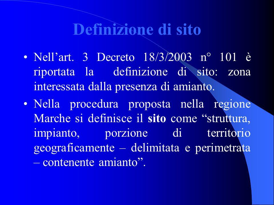 Definizione di sito Nell'art. 3 Decreto 18/3/2003 n° 101 è riportata la definizione di sito: zona interessata dalla presenza di amianto.