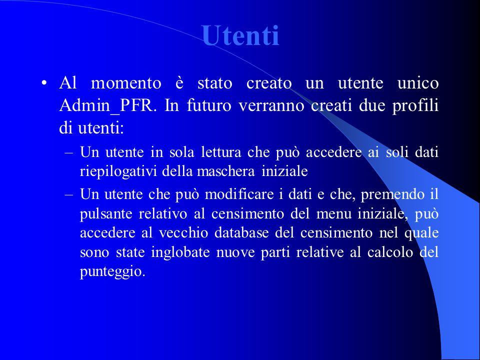 Utenti Al momento è stato creato un utente unico Admin_PFR. In futuro verranno creati due profili di utenti: