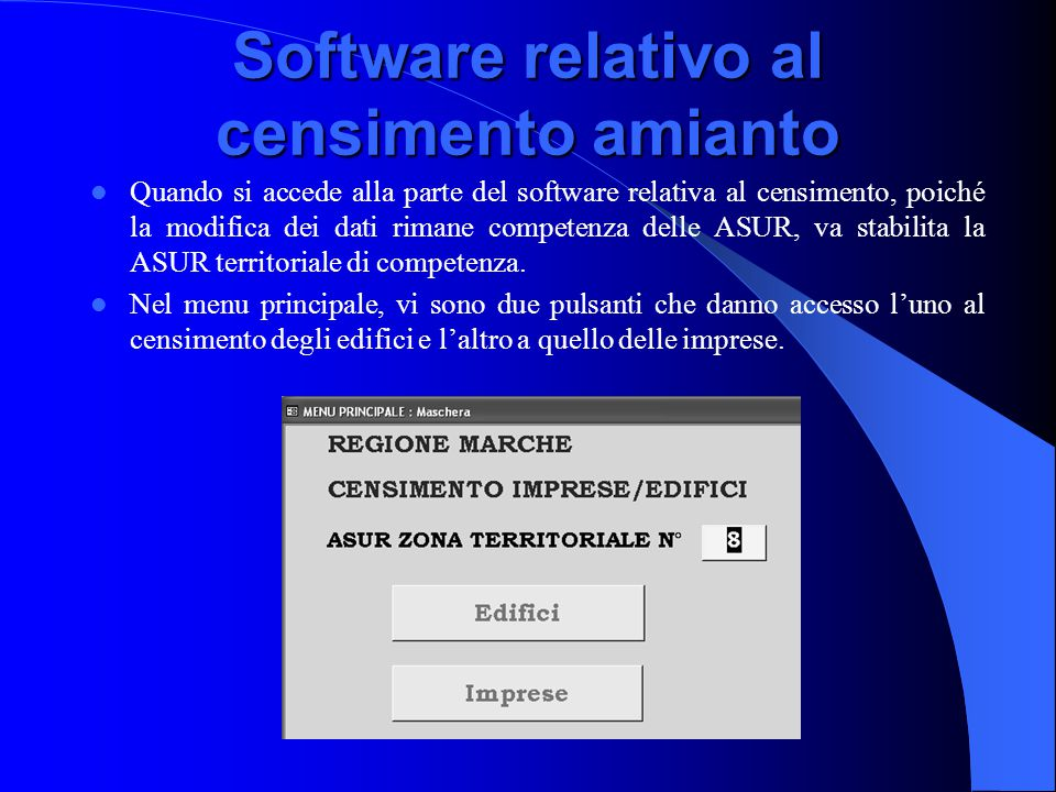 Software relativo al censimento amianto