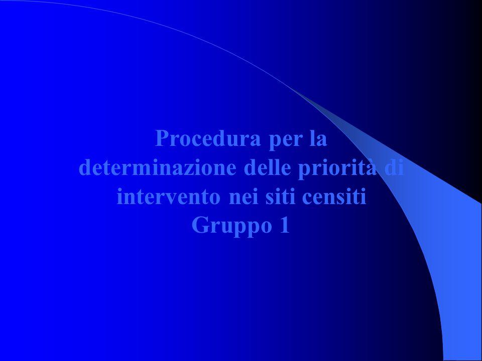 Procedura per la determinazione delle priorità di intervento nei siti censiti