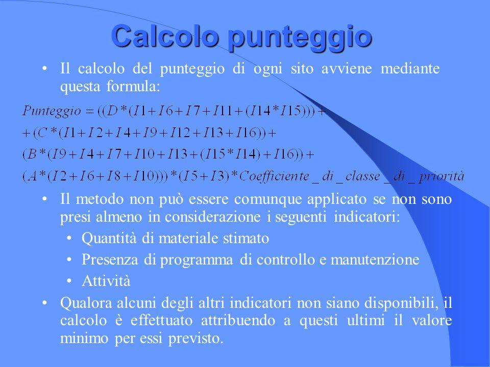 Calcolo punteggio Il calcolo del punteggio di ogni sito avviene mediante questa formula: