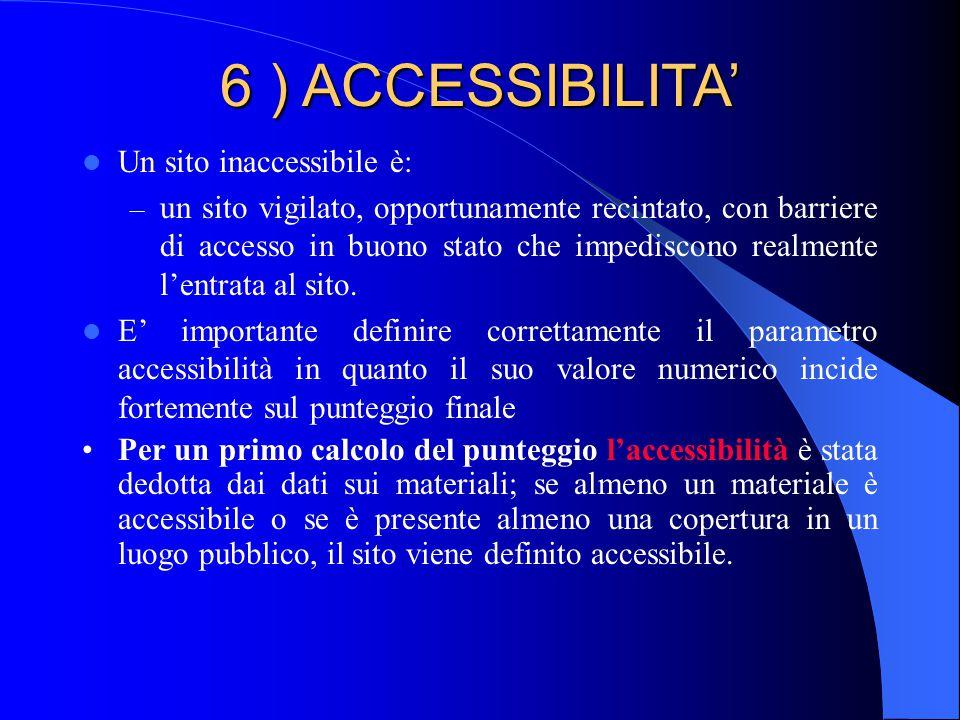 6 ) ACCESSIBILITA' Un sito inaccessibile è: