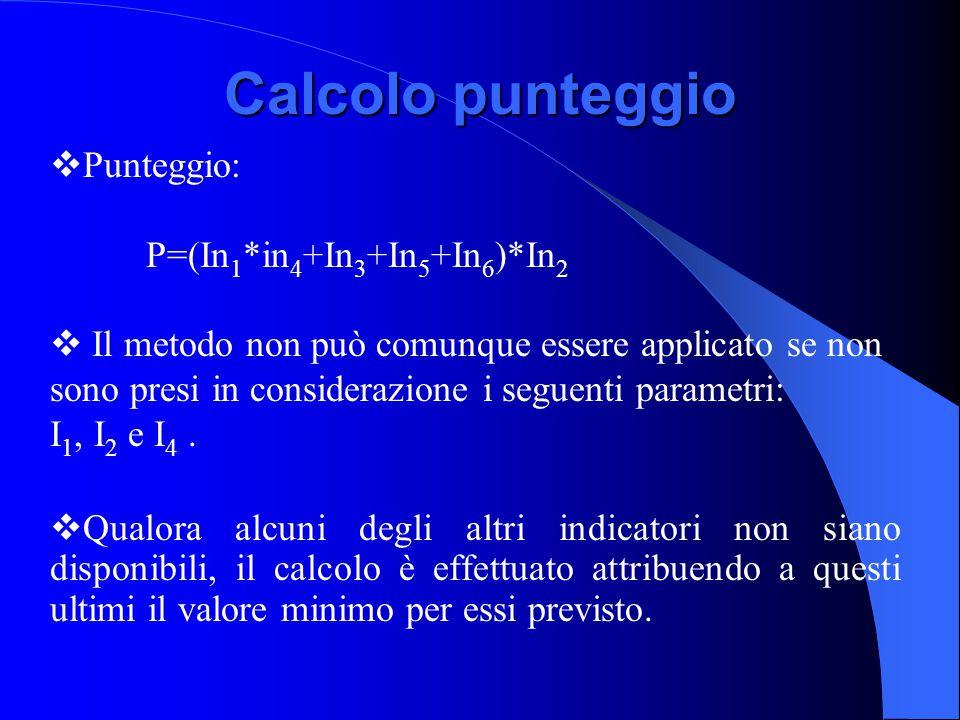 Calcolo punteggio Punteggio: P=(In1*in4+In3+In5+In6)*In2